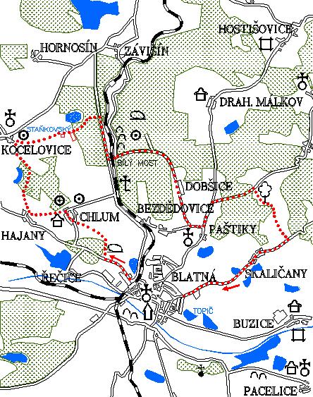 Mapa 1. okruhu - Kocelovice - Paračov - Dobšice - Skaličany