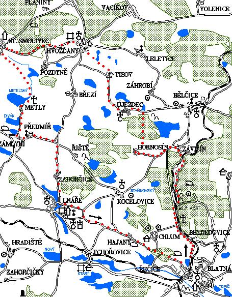 Mapa 2. okruhu - Závišín - Hvožďany - St. Smolivec - Metly