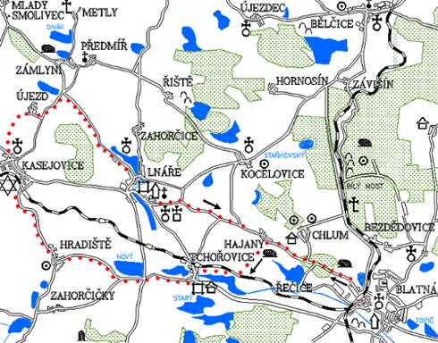 Mapa 3. okruhu - Tchořovice - Kasejovice - Lnáře