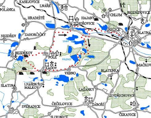 Mapa 4. okruhu - Řečice - Vrbno - Kadov - Bezděkov - Pole