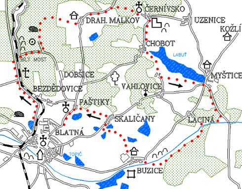 Mapa 5. okruhu - Černívsko - Labuť - Buzice - Paštiky