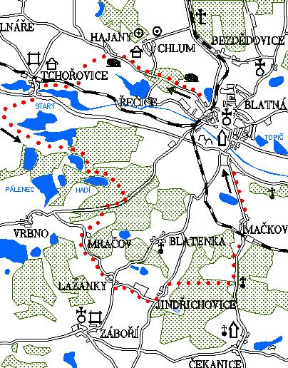 Mapa 6. okruhu - Tchořovice - Hadí rybník - Jindřichovice - Mačkov