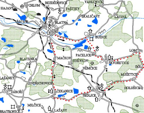 Mapa 7. okruhu - Buzice - Škvořetice - Sedlice - Čekanice