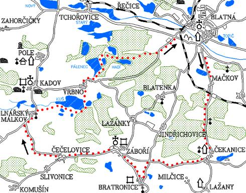 Mapa 8. okruhu - Čekanice - Bratronice - Záboří - Lnářský Málkov