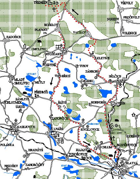 Mapa 9. okruhu - Záhrobí - Třemšín - Hvožďany - Kocelovice