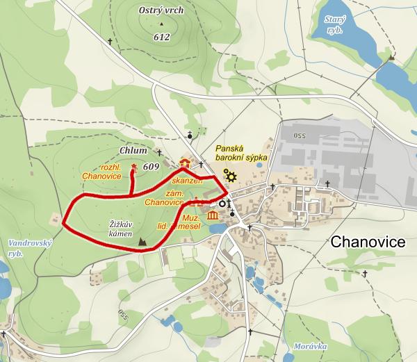 Mapa naučné stezky Chanovice